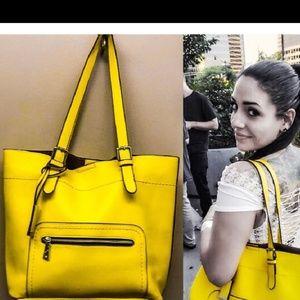 Handbags - Lemon yellow tote bag